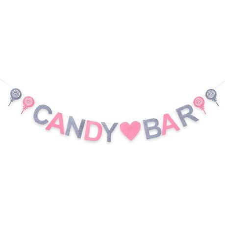 Candybar Filz Girlande Hochzeit Geburtstag Party Banner 2m - rosa grau