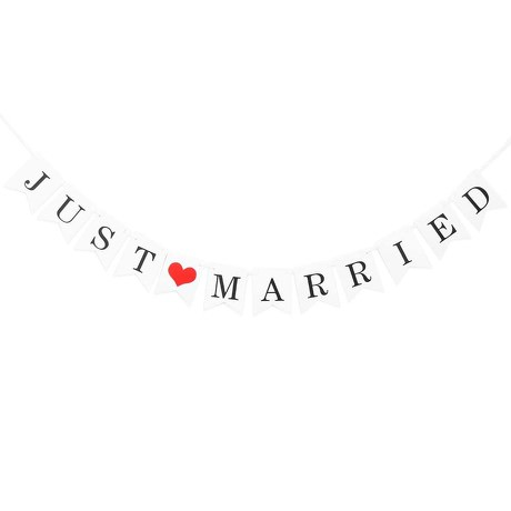 Just Married Hochzeit Feier Party Girlande Banner Deko - Vintage Look