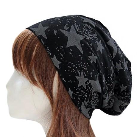 Long Beanie Jersey Mütze Slouch XXL Mützen - Sterne grau-schwarz