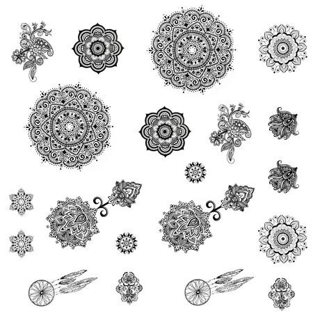 Temporäre Klebetattoos Mandala Tattoo Set - Körperkunst entfernbar