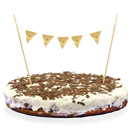 Torten Topper Kuchen Aufsatz Torten Wimpel Kette Kuchen Deko - gold