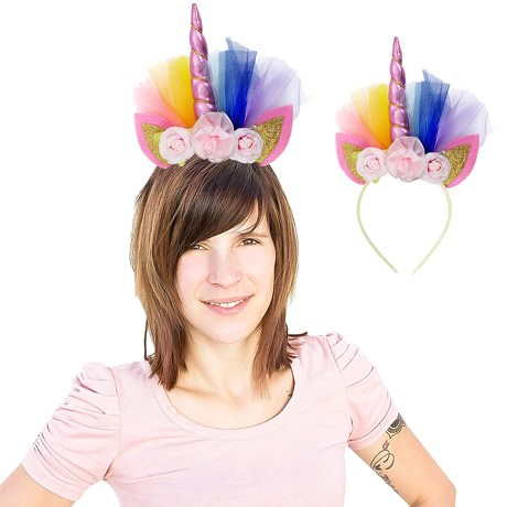 Haarreifen Einhorn Haarreif Unicorn Fasching Karneval JGA rosa