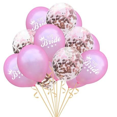 Team Bride Konfetti Luftballon Set 15 Stk JGA Hochzeit rosa