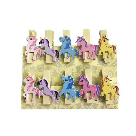 10 Mini Wäscheklammern Holz Miniklammern Deko Klammern - Einhörner