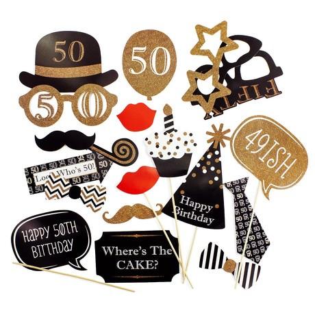 20 Fotorequisiten Fotoaccessoires Foto Booth 50. Geburtstag Party