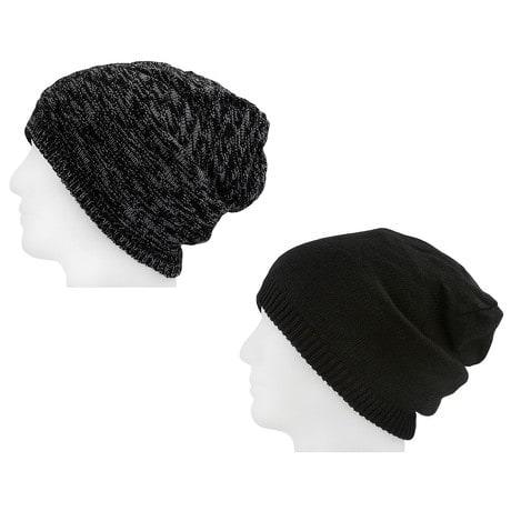 XXL Beanie Mütze zweiseitig Damen Herren Winter Mützen - black-grey