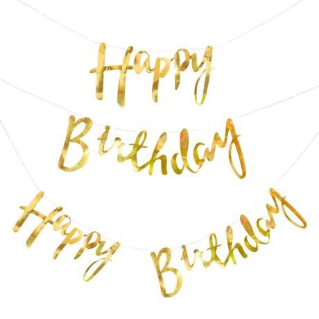 Happy Birthday Girlande Banner 1,5m Geburtstag Party Feier Deko - gold