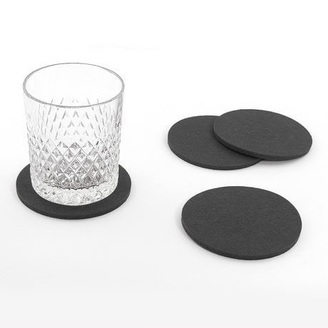4 filz untersetzer glasuntersetzer rund dunkelgrau. Black Bedroom Furniture Sets. Home Design Ideas