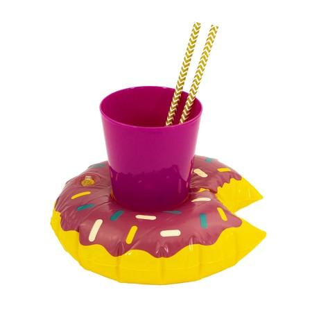 5x Schwimmender Donut Getränkehalter aufblasbar Pool Badespielzeug