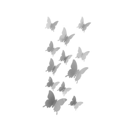 3D Schmetterlinge 12er Set Wandtattoo Wandsticker Wanddeko - grau