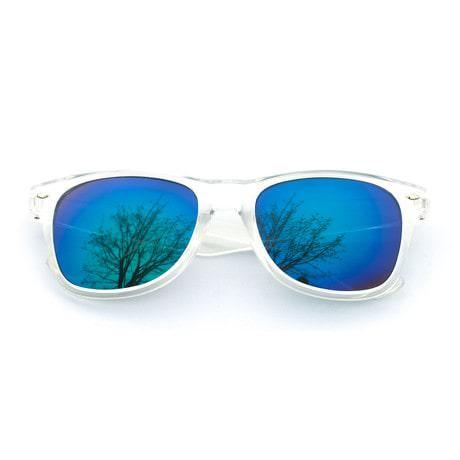 Nerdbrille Hornbrille 80s Retro Nerd Streber Sonnenbrille - blau gold