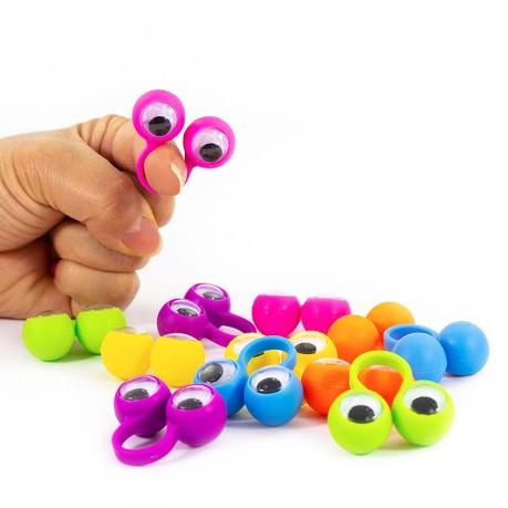 12 Augen Fingerpuppen mit Wackelaugen Kinder Spielzeug im Farbmix