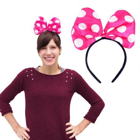 Haarreif Haarreifen große Schleife Fasching Karneval - pink