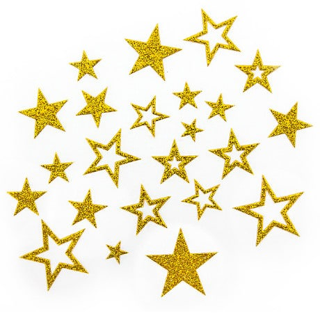 20 Glitzernde Funkelnde Sterne Sticker Aufkleber Buchstaben - gold