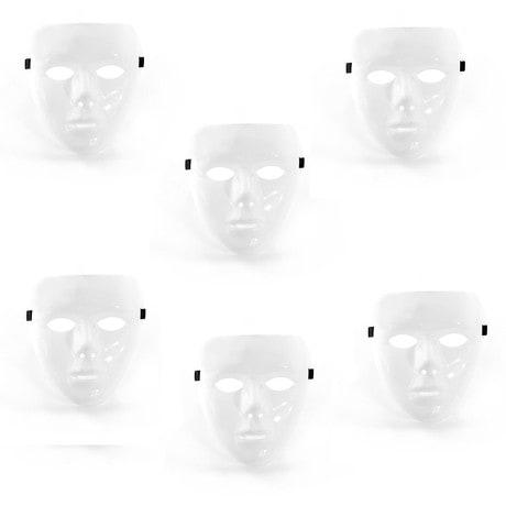 Weiße Maske unbemalt Halloween Fasching Karneval 6er Set - weiß