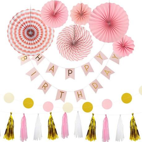 Happy Birthday Geburtstag Party Feier Deko Set - rosa gold weiß creme
