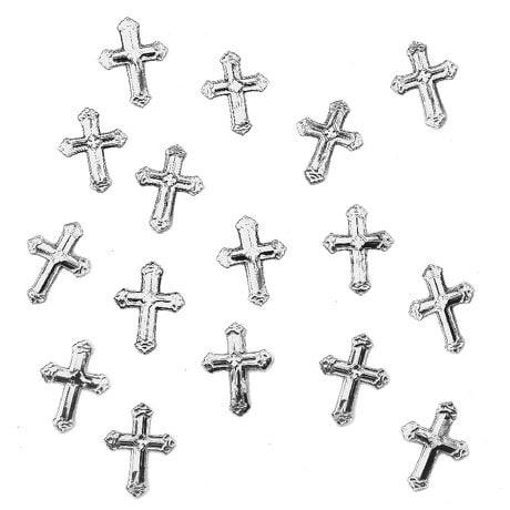 150 Deko Kreuze Konfetti Konfirmation Taufe Kommunion - silber