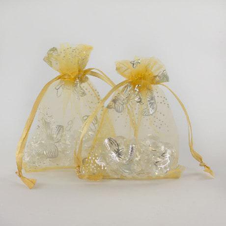 Organzasäckchen Organzabeutel Schmuckbeutel gold Schmetterlinge