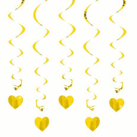 5 Girlande Spiral Deckenhänger mit Herz - gold