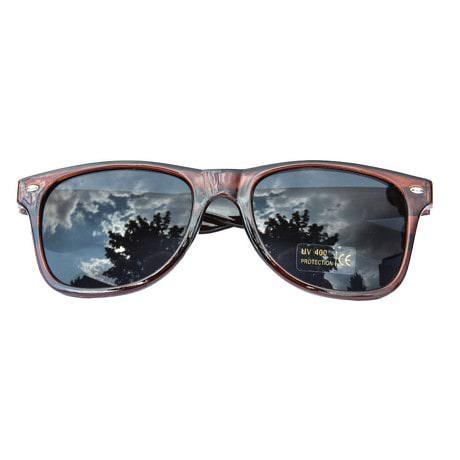 Nerdbrille Hornbrille 80s Retro Nerd Streber Sonnenbrille - braun