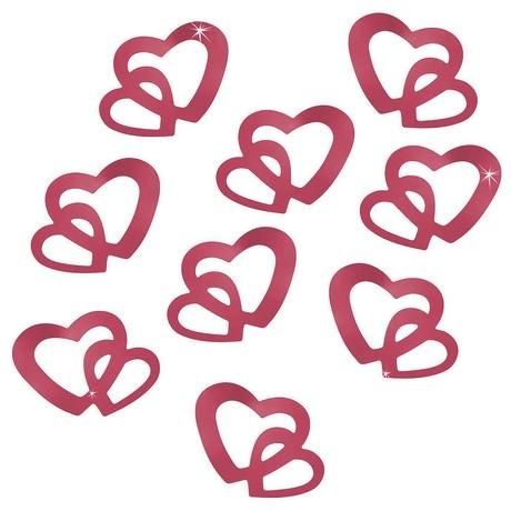 Herz Konfetti Tischdeko Hochzeitsdeko Liebe Romantik - weinrot