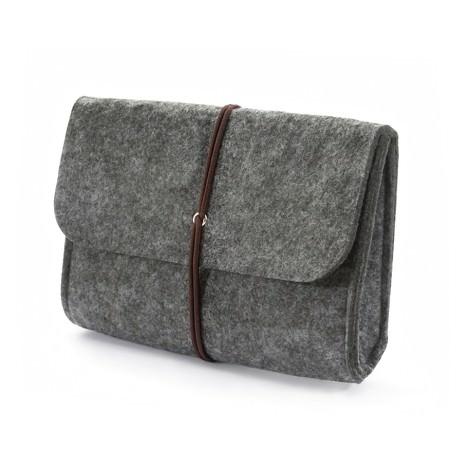 Filz Tasche Täschchen Etui für Smartphone, Festplatte - medium grau