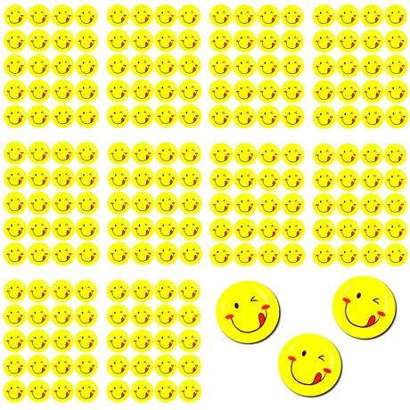 200 Smiley Sticker Set Aufkleber rausgestreckte Zunge  - gelb