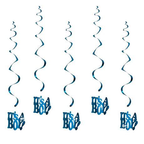 5 Girlande Spiral Deckenhänger Baby Shower Its a Boy - blau