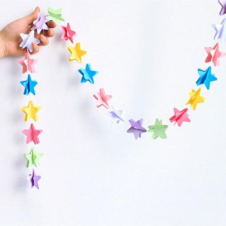Deckenhänger Girlande 3D Sterne Geburtstag Party Deko - bunt