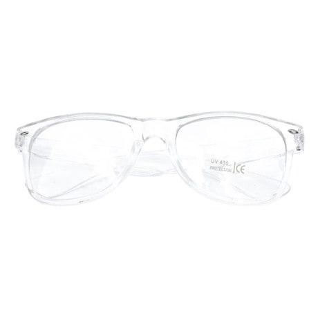 Nerdbrille Hornbrille 80s Retro Nerd Streber Brille - transparent
