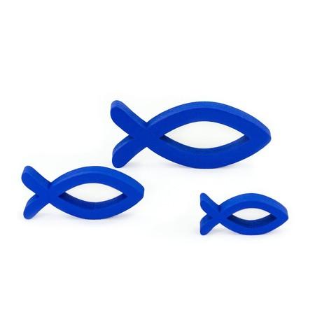 3 Holz Fische Mix Streudeko Taufe Kommunion Konfirmation - königsblau