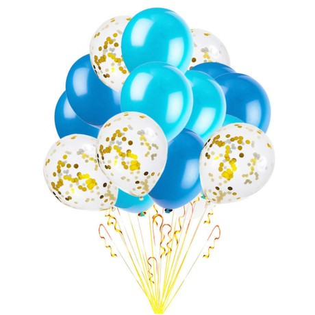 Konfetti Luftballon Set 15 Stk Geburtstag Feier Hochzeit JGA blau weiß