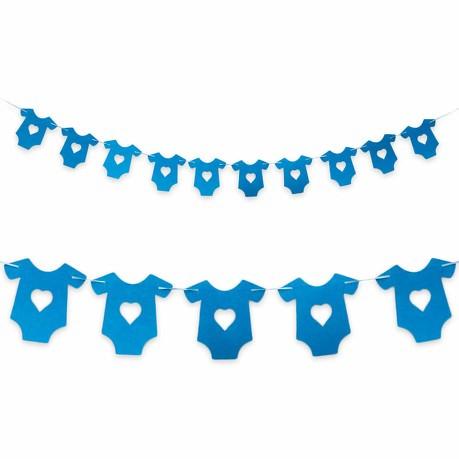 Girlande Baby Shower Baby Party Schwangerschaft - Hemdchen blau