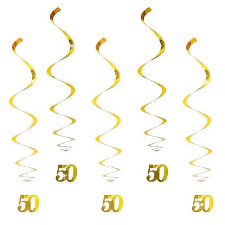 5 Wirbel Deckenhänger 50. Geburtstag mit Bändern und Ösen - gold