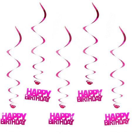 5 Wirbel Deckenhänger Happy Birthday mit Bändern und Ösen - pink