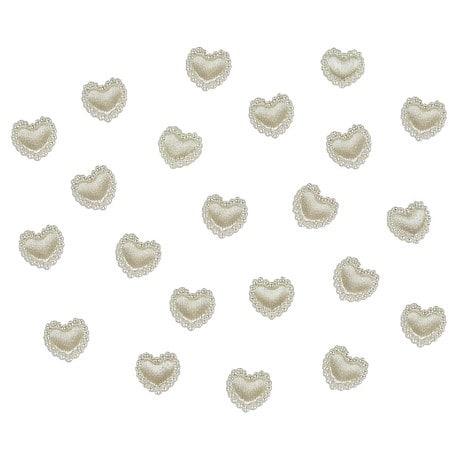 Herz Konfetti Perlenherzen Streudeko Tischdeko Hochzeitsdeko - creme