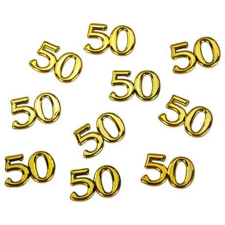 10x Konfetti Zahl 50 Deko Geburtstag Hochzeitstag Jubiläum - gold