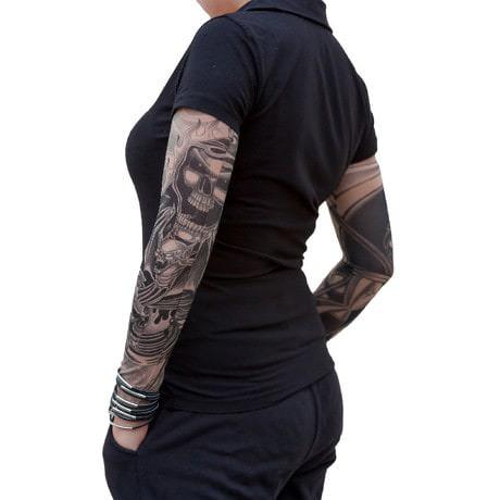 Tattoo Ärmel Strümpfe Armstulpen Motiv - bats under flames