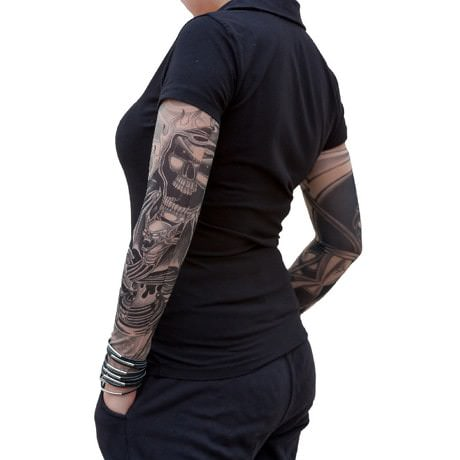 Tattoo Ärmel Tattoo Strümpfe Armstulpen Motiv - bats under flames