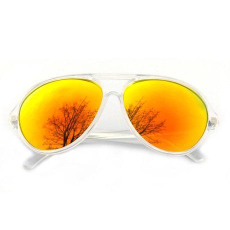 Pilotenbrille Sonnenbrille Herren Damen Flieger transparent rot gold