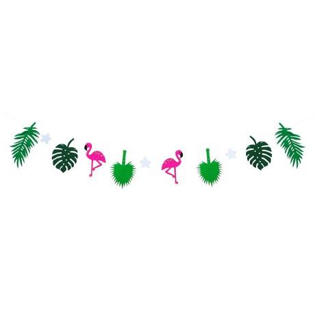 Hawaii Girlande Sommer Party Deko Banner mit Flamingos + Palmenblätter