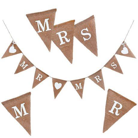 Mr & Mrs Hochzeit Girlande Banner - Jute Leinen
