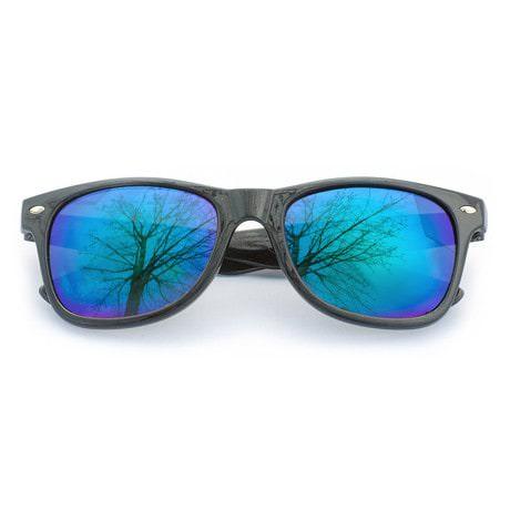 Nerdbrille Hornbrille Retro Nerd Sonnenbrille - blue-mint/verspiegelt