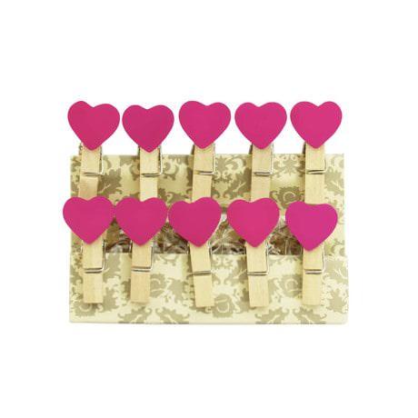 10 Mini Wäscheklammern Holz Miniklammern Deko Klammern - pinke Herzen