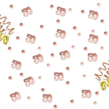 Konfetti 50. Geburtstag Jubiläum über 300 Stück Zahl + Punkte Tisch Deko Streudeko - roségold