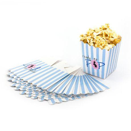8 Popcorn Schachtel Tüte Box Schwangerschaft Baby Shower - blau