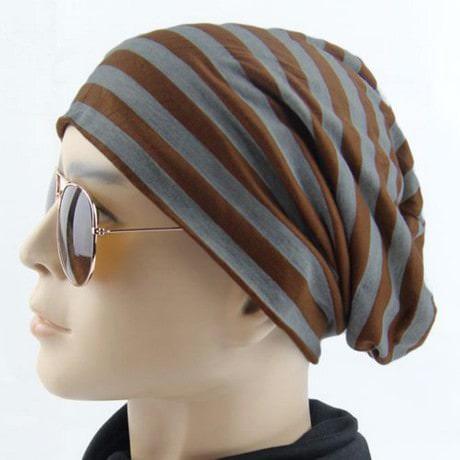 Long Beanie Jersey Mütze Slouch XXL Mützen - gestreift braun-grau