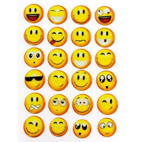 24 3D Smiley Smilies Sticker Aufkleber Set Emoji Deko Basteln