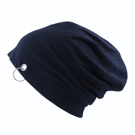 Long Beanie Jersey Mütze Slouch XXL Mützen - dunkelblau mit Ring