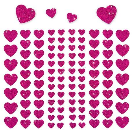 106 Herz Sticker Aufkleber Set Glitzer Scrapbooking Basteln - pink